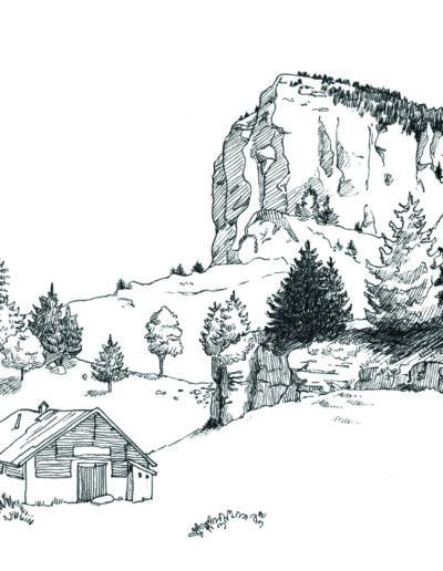 Illustration grenoble encre paysage Chartreuse